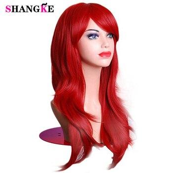 Cadılar bayramı Saç Peruk Uzun Dalgalı Sentetik Peruk Kadınlar için Kırmızı Peruk Isıya Dayanıklı Kadın Saç Cosplay Peruk SHANGKE