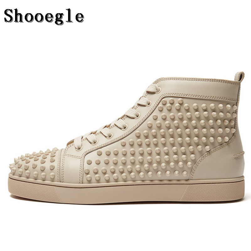 SHOOEGLE Fashion White Rivet Men Shoes Casual Espadrilles High-top Platform Ankle Boots High Quality Zapatillas Hombre Sneakers new spring men shoes trainers leather fashion casual high top walking lace up ankle boots for men red zapatillas hombre
