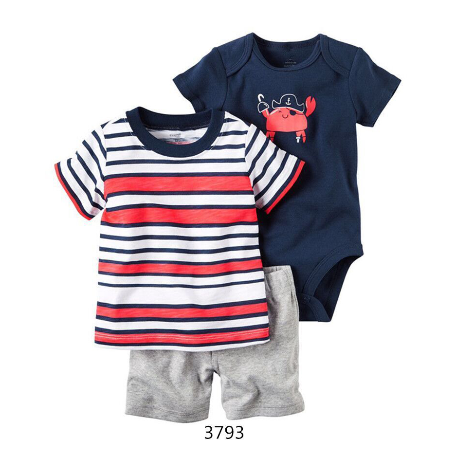Baby Boy 3 pcs Clothes Summer 2017 Newborn Baby Boys Clothes Set Cotton Baby Clothing Suit (T-Shirt+Pants) Infant Clothes Set newborn baby boy girl 5 pcs clothing set cotton cartoon monk tops pants bib hats infant clothes 0 3 months hight quality
