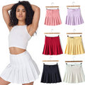 9 Colors New 2015 Fashion Sexy Saias Femininas AA Brand Solid High Waist Pleated Skirts Knit Ball Mini Skirts Plus Size