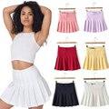 9 colores nuevo 2015 moda Sexy Saias Femininas AA marca sólida de cintura alta faldas plisadas de punto pelota de tenis Mini faldas Plus Size