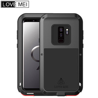 LOVE MEI Shockproof Aluminum Metal Silicone Hybrid Armor Case For Samsung Galaxy S9 Powerful Heavy Duty Cover for Galaxy S9 Plus
