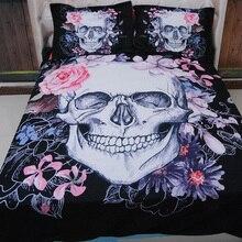 3 unids corpse bride skull kids/niños 3d juego de cama sola reina super king size funda nórdica fundas de almohada conjuntos rosa cama de flores