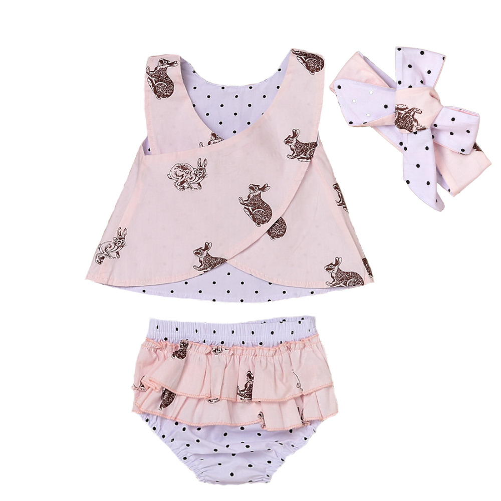 Toddler Baby Kids Girl Clothing Summer Top Bunny Print Sleeveless Tops Ruffle Shorts Bottoms Handband 3pcs Outfit Girls Clothes 3pcs outfit infantil girls clothes toddler baby girl plaid ruffled tops kids girls denim shorts cute headband summer outfits set