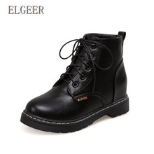ELGEER 2018 autumn and winter womens shoes Lace-up British student boots Fashion casual sneakers high heels