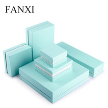 FANXI  Sky Blue Leatherette paper Jewelry gift box for Jewelry packaging Ring Bracelet Necklace Chains Organizer Box Showcase