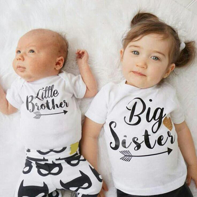 7a8d7b022e12 Big Sister Little Brother Letter Printed Family Matching T-shirt Tops Romper  Short Sleeve Cotton Kids Girl Baby Boys Clothes D20