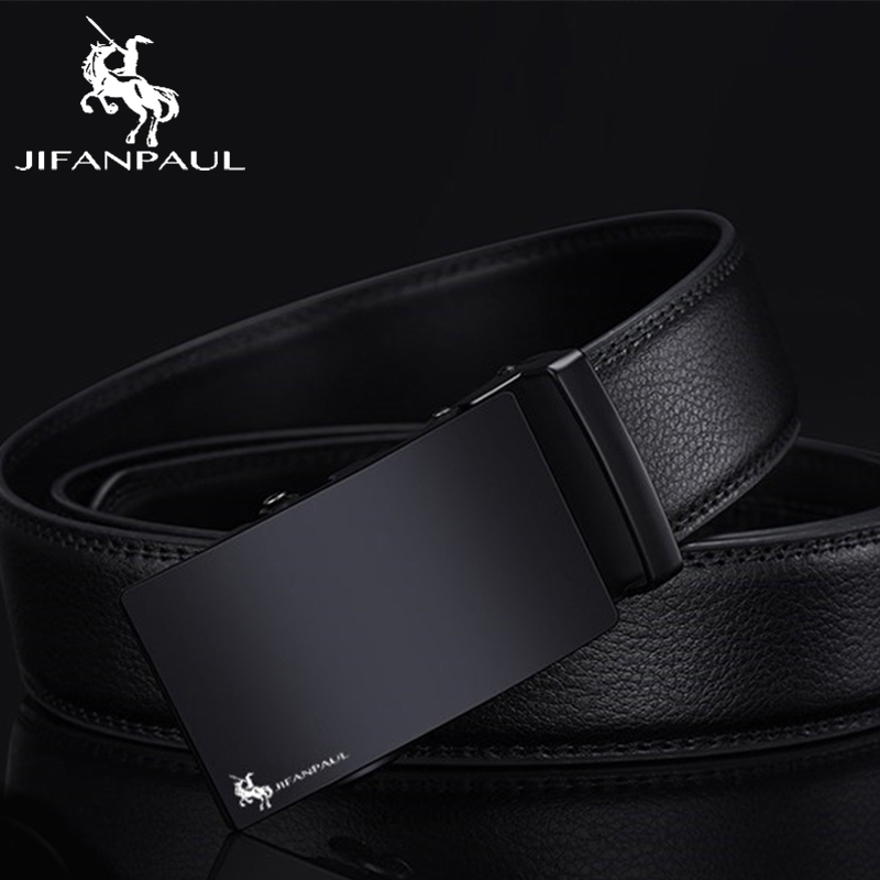 JIFANPAUL Leather Belt Men's High Quality Black Belt Men's Classic Design Metal Automatic Buckle Belt Free Shipping
