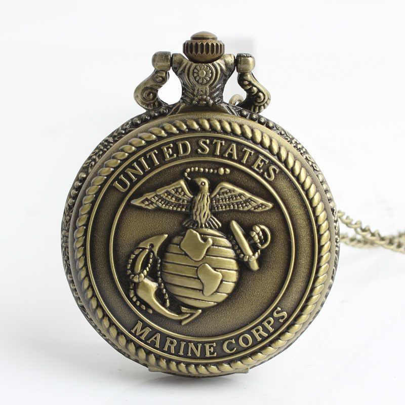 Retro Đồng Hoa Bang Thủy Quân Lục Chiến Thạch Anh Đồng Hồ Bỏ Túi Vòng Cổ Mặt Dây Chuyền Đồng Hồ Nam Nữ Quà Tặng CF1093
