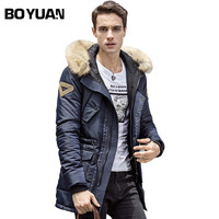 BOYUAN Brand Hooded Parka 2017 Winter Jacket Men Casual Fashion Fur Hood Thick Long Jacket Men