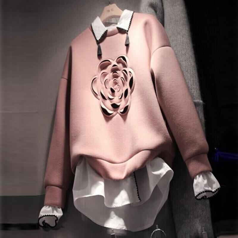 2018 Fall Women's Korean Sweatshirt Fashion Three Dimensional Flowers Fake Two Piece Hoodie Girls' Student Pullover Shirt