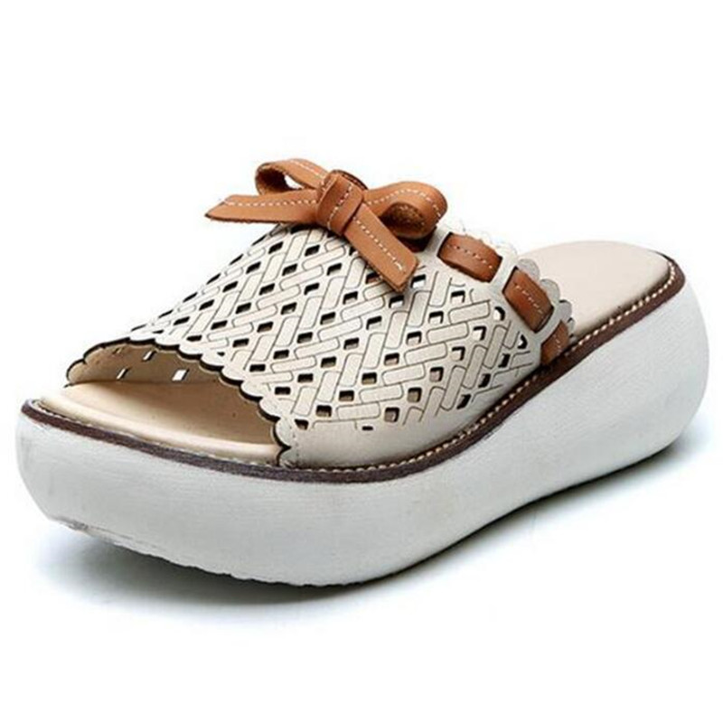 Most Trendy Summer Platform Wedges Slippers Fashion Sandals Women Shoes Sandals 2019 Hollow Real Leather Slippers