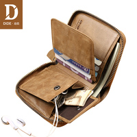 DIDE Casual Vintage purse female small Genuine Leather Men Wallets Zipper Wallets Male Purses Coin Card Holder Wallet Men's Bag