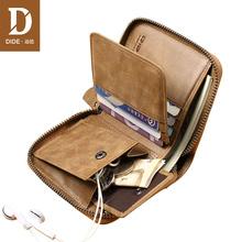 DIDE Casual portmonetka w starym stylu kobiece małe oryginalne męskie portfele skórzane portfele na zamek błyskawiczny męskie torebki monety karty portfel z uchwytem torba męska tanie tanio Prawdziwej skóry Poliester 2 8 cm Standardowe portfele Unisex DQ657 first layer Cowhide Zdjęcie holder Wewnętrzna kieszeń