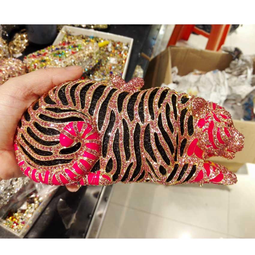 Stylish Animal Tiger Diamond Evening Bag Gold Luxury Diamante Crystal Clutch bag Wedding elegant bride Party leopard Purse 88166 luxury crystal clutch handbag women evening bag wedding party purses banquet