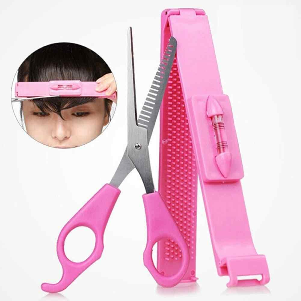 2 adet Kadınlar Saç Patlama Giyotin Makas Saçak Kesme Aracı Seviyesi Cetvel Kesme kolaylık