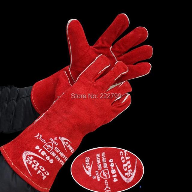Piel de vaca piel de vaca guantes de soldador de soldadura de alta resistencia a la temperatura resistente al desgaste diseño largo resistente al desgaste guantes de trabajo