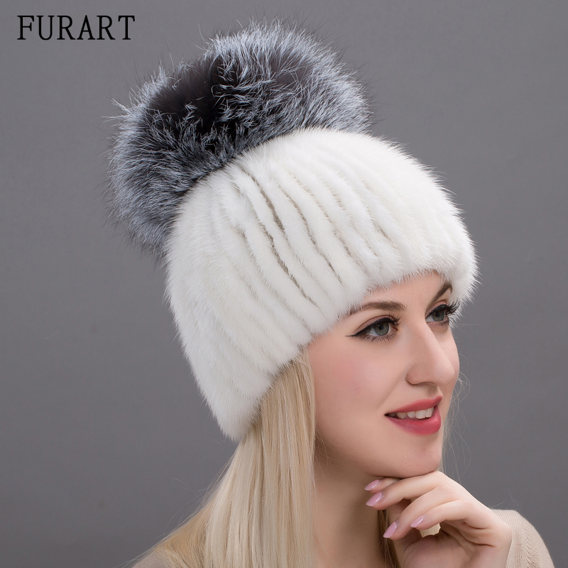 Real Mink Fur Hat For Fashion Women Winter Knitted Mink Fur Beanies Cap With Sliver Fox Fur Pom Poms Brand Thick Hats DHY17-04
