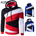2017 New men 7 colors simple hooded patchwork men sportsweater fashion zipper turn-down collor casual sweatshirt