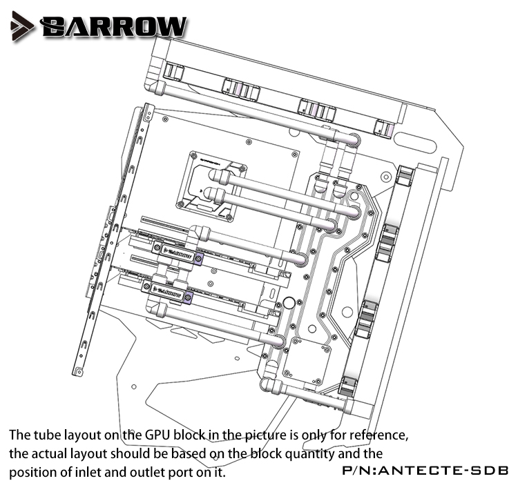 Купить с кэшбэком Barrow Acrylic Board as Water Channel use for Antec TORQUE Computer Case use Both CPU and GPU Block RGB Light to AURA