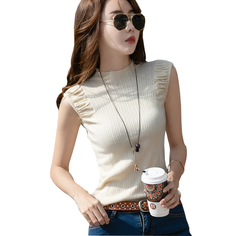 Women Clothes 2020 Summer Autumn Vintage Tees Sleeveless <font><b>Sexy</b></font> Tank Top Korean Fashion Black Tops Knitted Cotton Vest <font><b>Haut</b></font> <font><b>Femme</b></font> image