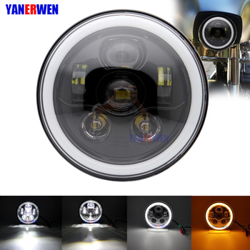 """7"""" LED Headlight, 45W Motorcycle LED Headlamp Projector Headlight with White Halo Ring Amber Turn Signal Halo for Motorcycle"""