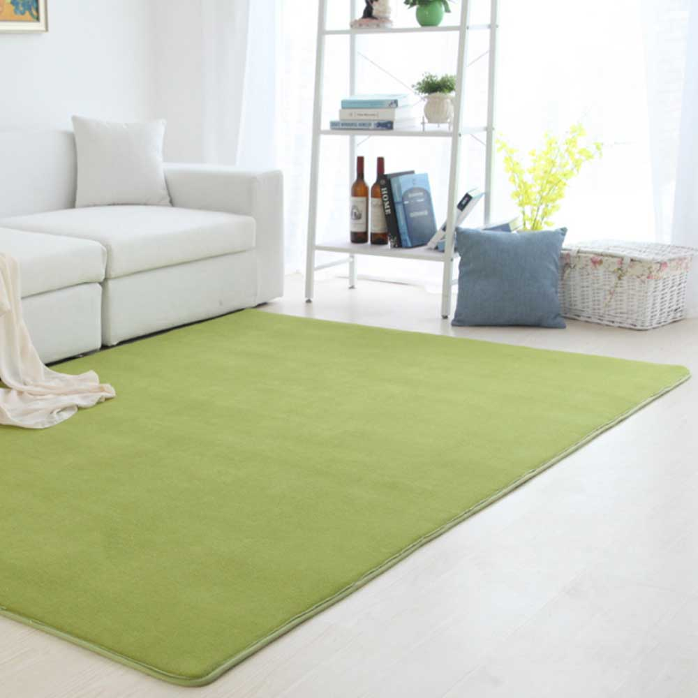 Коврик из полиэфирного волокна кораллового бархата для спальни, гостиной, мягкое украшение для дома, чайный стол, стулья, коврик для пола, нескользящая прихожая - Цвет: Green