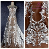 La Belleza Off white/Black polyester on mesh heavy embroidery wedding dress lace fabric 1 yard 51 width