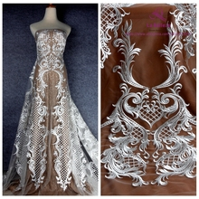 La Belleza Off white polyester on mesh heavy embroidery wedding dress lace fabric 1 yard 51