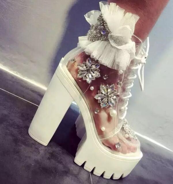 fashion woman diamond white transparent handmade rhinestone pearl lace platform thick heel woman ankle boots platform boots lace