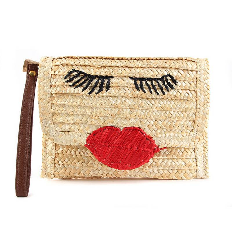 2017 New Women Bag Red Lip Straw Bales Handmade Bag Ladies Woven Straw Message Bag Single Shoulder Handbag Woman Beach Bag H18