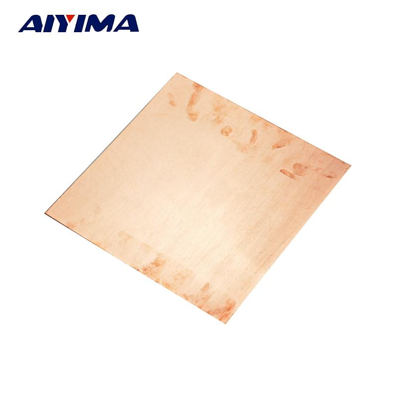 AIYIMA 1PC Copper Plate Flat Sheet Art Scrap Metal Material 0.5mm x 150mm x 150mm