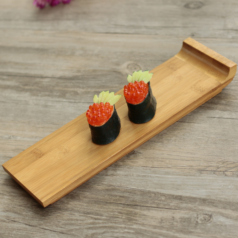Japan Style Rectangular Sushi Plate Container Bamboo Tray
