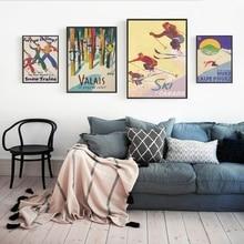 Póster lienzo artístico esquí Vintage impresiones esquí en Canadá Francia Valais Suiza Retro viajes pintura imagen artística para pared decoración del hogar