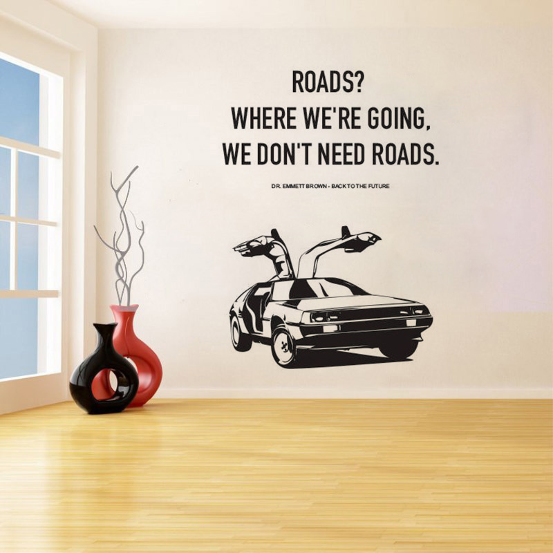 YOYOYU Wall Sticker A Poster Back To The Future Car Quote Wall Decals Living Room Bedroom Removeable Home Decoration ZX527