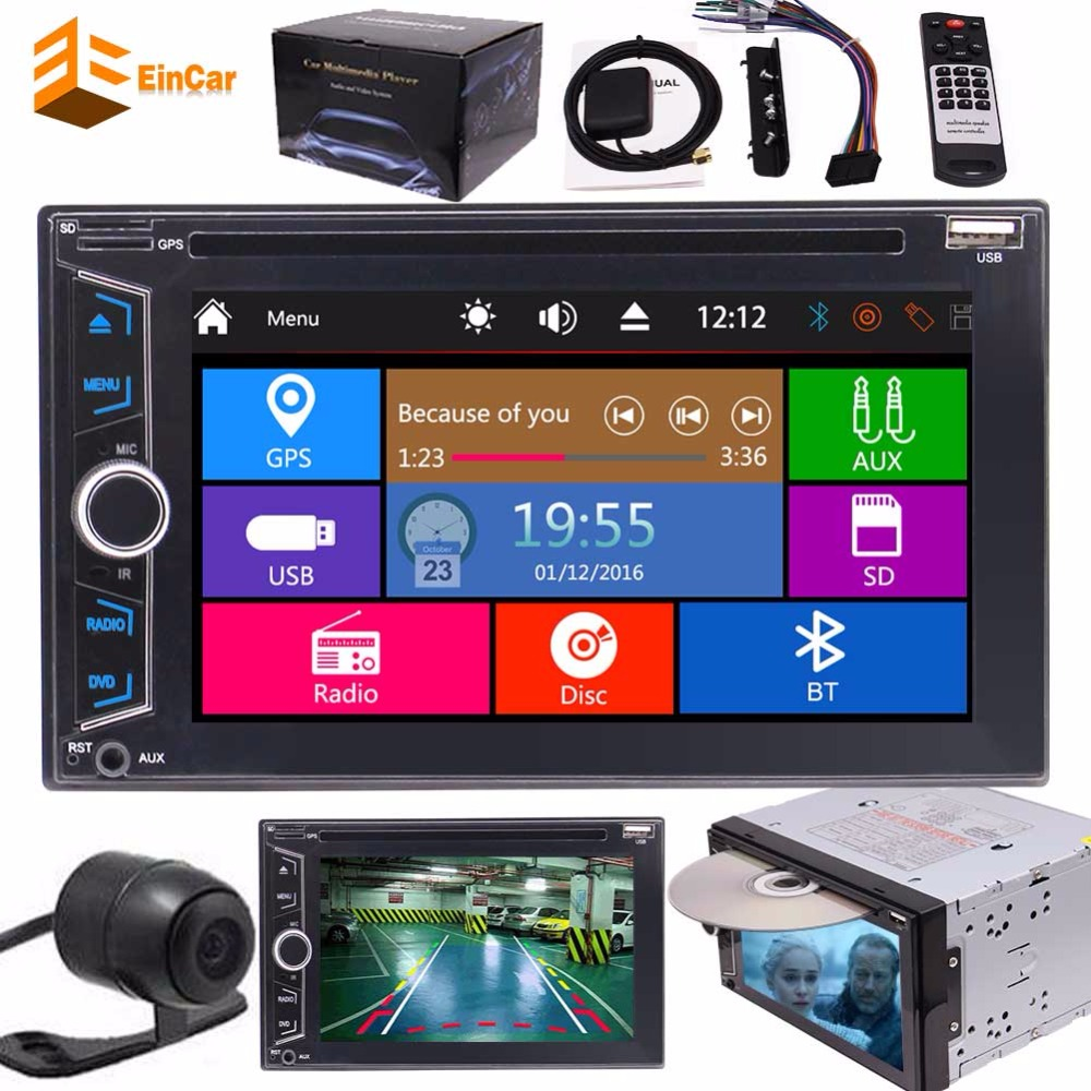 Double 2 Din Car Cassette Multimedia Stereo cd DVD Player GPS Navigation Radio Bluetooth automotive motor support USD SD 1080P