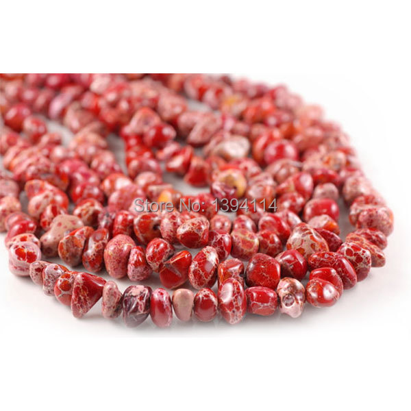 10-12mm Sea Sediment Imperial Stone Red Nugget Pebble Loose Beads 15.5 inch Full Strand