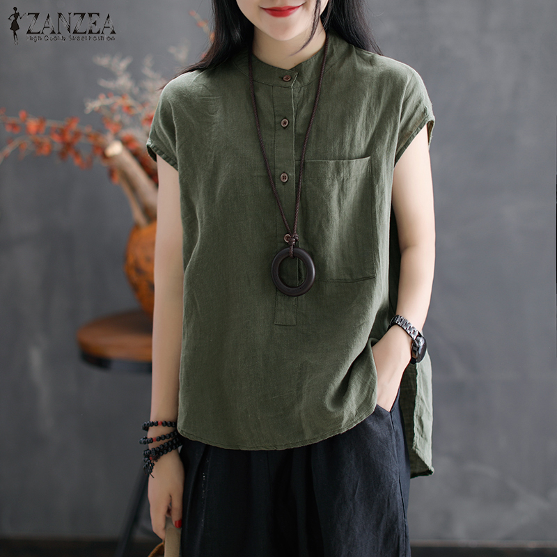 2020 ZANZEA Women Summer Blouse Work OL Blusas Solid Cotton Linen Shirt Casual Short Sleeve Tops Camisas Mujer Plus Size Blouse