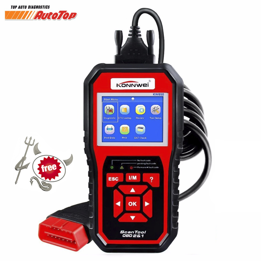 2017 Best OBD2 ODB 2 Automotive Scanner KONNWEI KW850 Multi-languages Full OBD 2 Function Auto Diagnostic Tool Better Than AL519 2017 unlimited token ktag 7 020 kess 5 017 ecu programming tool k tag v7 020 sw 2 23 with gpt function better than ktm100