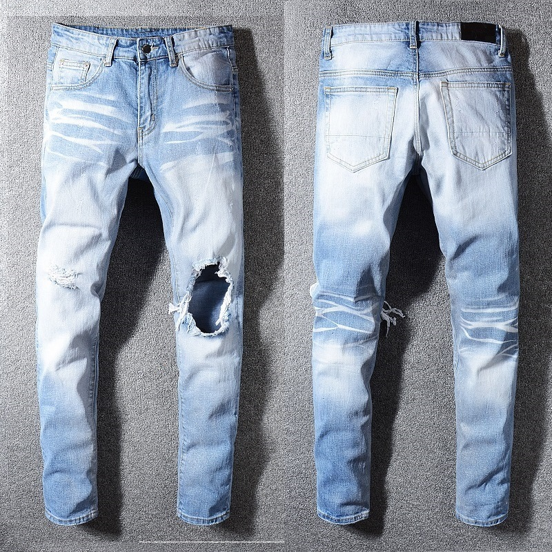 New Italy Style #587# Men's Destroyed Hollow Out Patches Silver Shining Pants Skinny Blue Jeans Slim Trousers Size 28-40