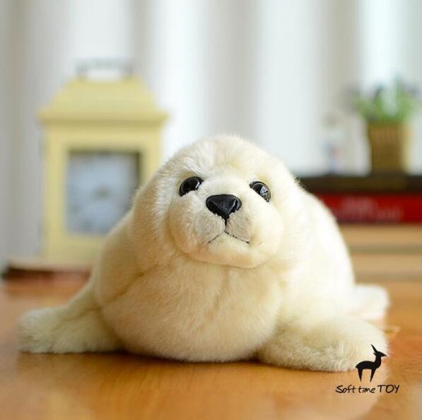 Kawaii Big Plush Toy Simulation White Seal  Stuffed Animal  Doll Soft  Kids Toys Gift