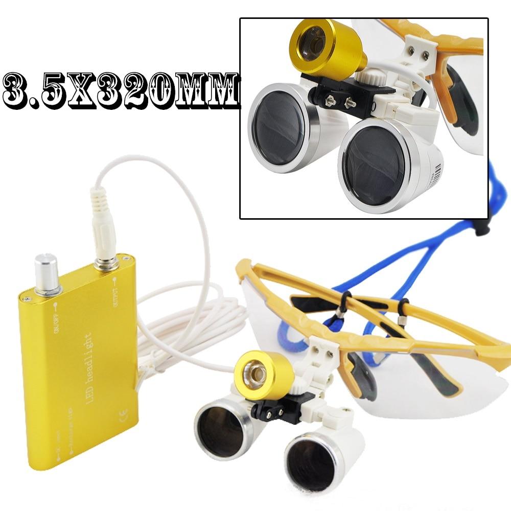 High Quality 3.5x320mm Dental Surgical Medical Binocular Loupes magnifying glass +Portable LED headlight lamp стоимость