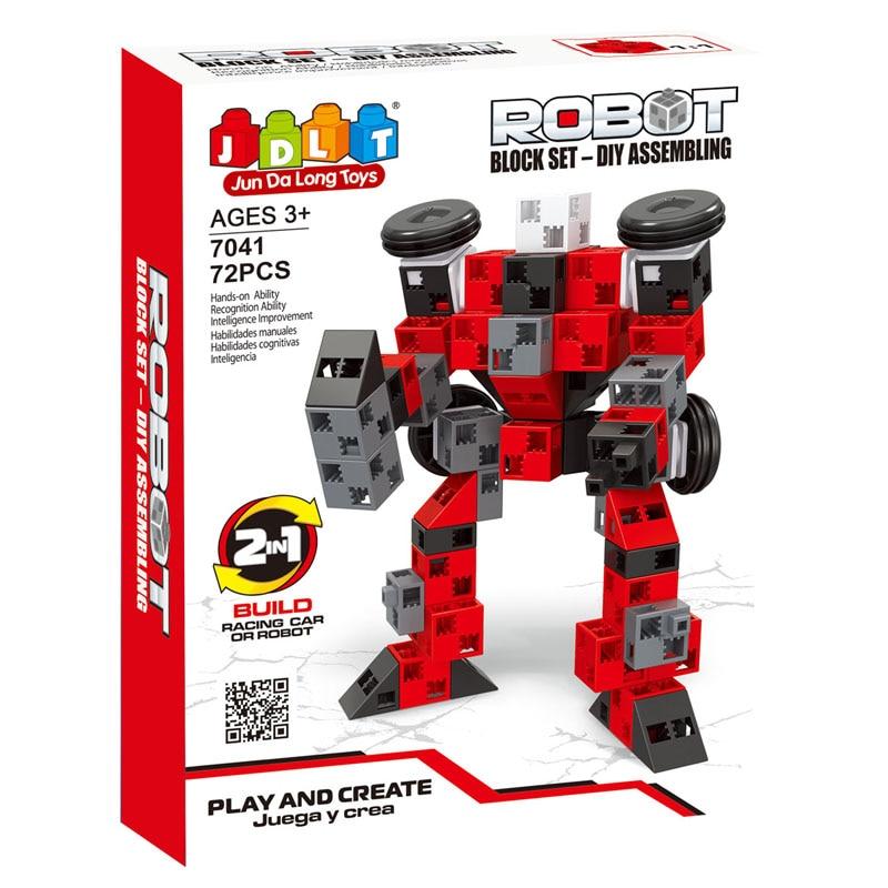 ФОТО JDLT Play And Create Building Blocks 72pcs DIY Series Robot Set For Assembling Build Racing Car And Robot