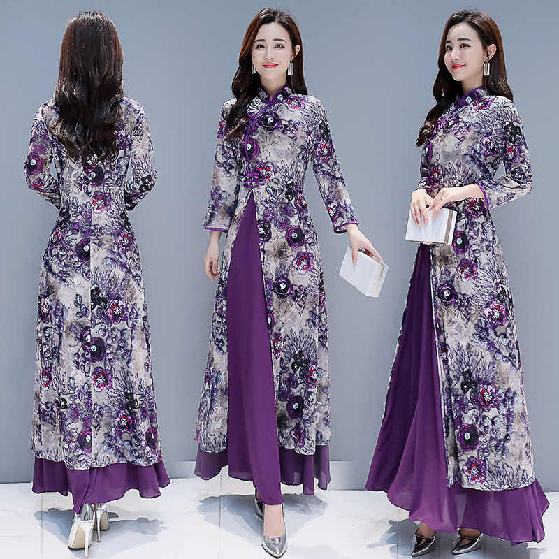 2019 new spring and summer Chinese traditional plus size long cheongsam qipao S-4XL
