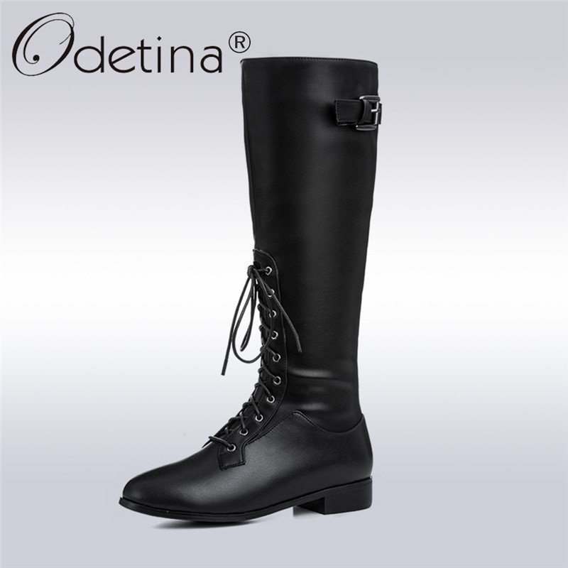 Odetina 2017 New Winter Genuine Leather Women Lace Up Equestrian Riding Boots Buckle Chunky Low Heel Side Zipper Knee High Boots
