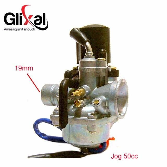 Glixal 1PE40QMB Jog 50cc 72cc 90cc Minarelli için Elektrik Choke ile 19mm Karbüratör 2 İnme 1E40QMB Scooter Moped Carb PZ19J