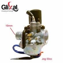 Glixal ag jog 50cc 72cc 90cc 19mm, carburador com garra elétrica, para minarelli, 2 tempos de carb pz19j
