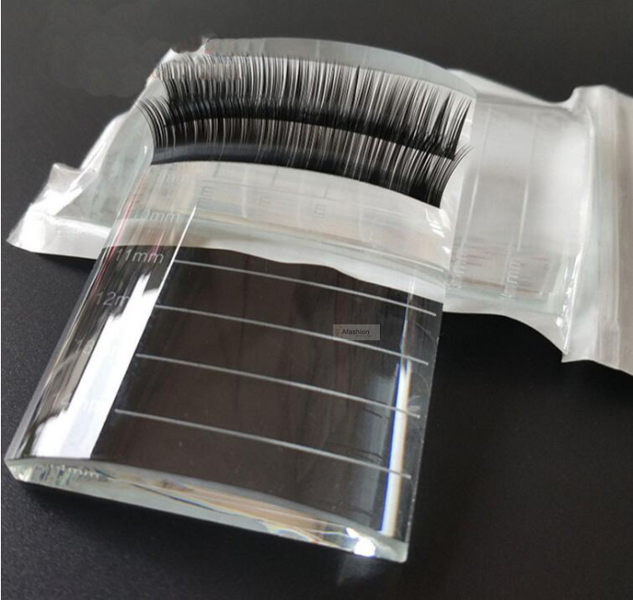 1pc U Curved Crystal Stand Pad With Scale False Eyelashes Bend Holder Pallet Fake Lashes Extension Essential Tool