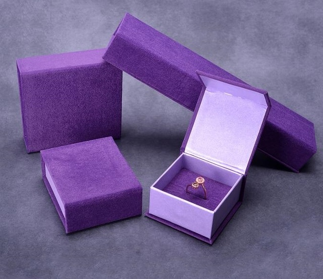 Fashion Purple Velvet Jewelry Sets Box Bracelet Pendant Necklace