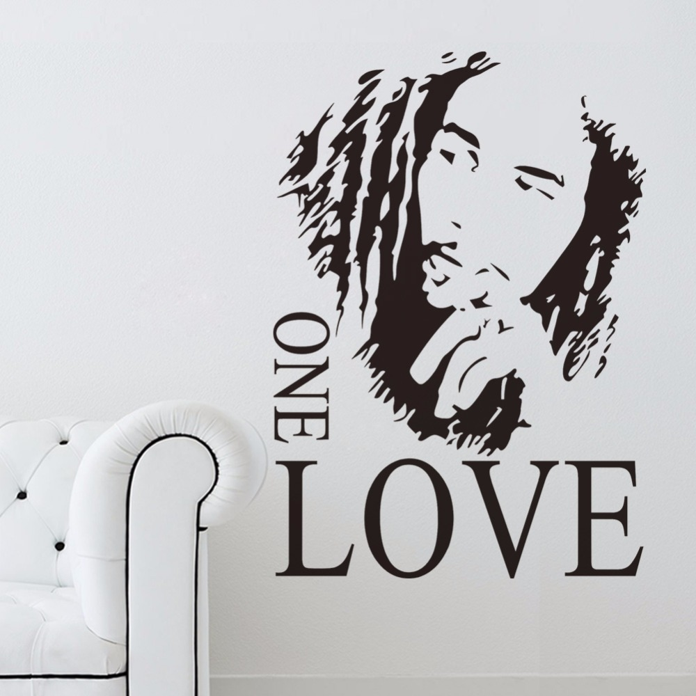Creative Home Decor Plane Wall Stickers Jamaica Singer Bob Marley Song ONE LOVE Pattern For Living Room Quotes Decal 43x61 CM image